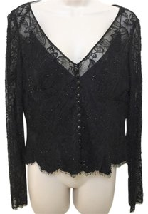 Carmen Marc Valvo Lace Silk Evening Top Black