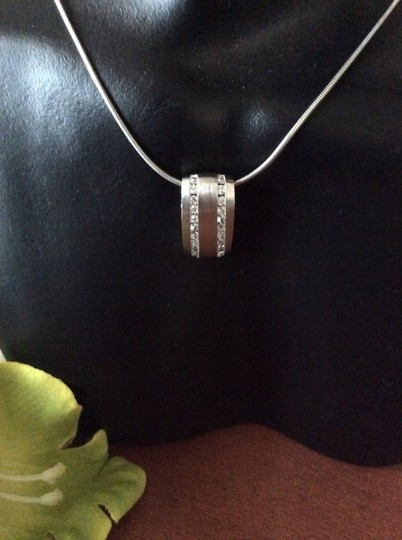 Other .925 Silver Necklace With Satin Finish Pendant With cZ
