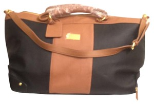 Joy & IMAN New Wheeled Duffle Leather Luggage Black Brown Travel Bag