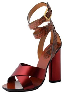 Gucci Leather Python Burgundy Sandals