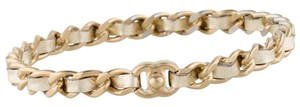 Chanel Gold-tone Chanel chain interlocking CC logo bangle bracelet