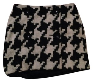 MILLY Plaid Wool Skirt Black, White