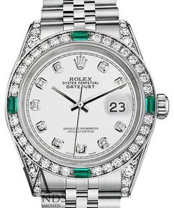 Rolex Womens Rolex 31mm white diamond Jubilee Bracelet Emerald diamonds