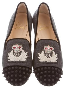 Christian Louboutin Intern Spike Monogram Embroidered Loafer Grey, Black Flats