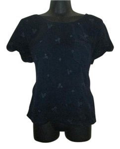 Hollister Floral Embroidered Chiffon Summer Top Navy Blue
