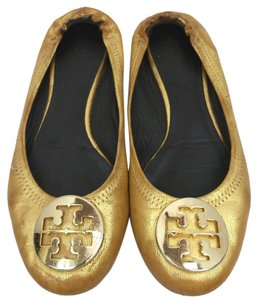 Tory Burch Gold Leather Flats