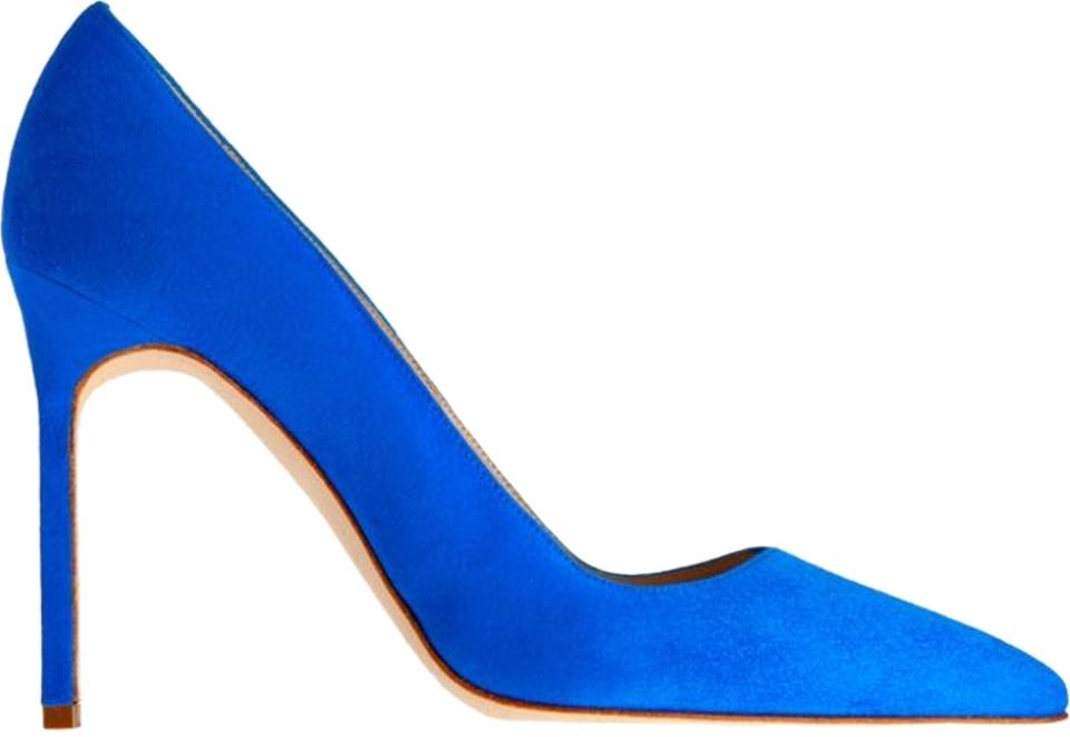 Manolo Blahnik Electric Blue Heel Bb Suede Point-toe Heel Blue Pumps 467827
