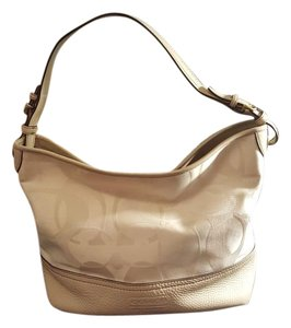 Coach Signature Leather Tote in White/Beige