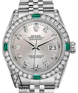 Rolex Ladies Rolex 26mm Silver dial Jubilee Bracelet custom Emerald diamonds