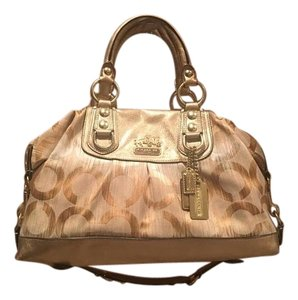 Coach Satchel in Gold, tan, light brown and cream