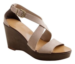 J.Crew Platform Ankle Strap Crisscross Strap SUEDE TAUPE BROWN NUDE Wedges