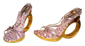 Louis Vuitton Cut-out Floral, Gold Wedges