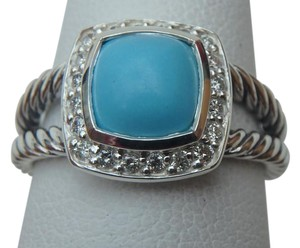 David Yurman Petite Albion Ring with Turquoise and Diamonds size 8 w/ pouch NEW