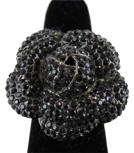 Gunmetal Gray Black Pave Set Stones Floral Stretch Band Ring Bj14