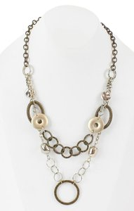 Chico's Chicos 20.5 4 Extender Gold And Silvertone Mixed Chain Rings Necklace Bj14