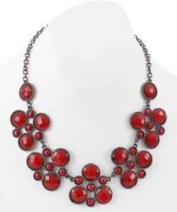 Cookie Lee Cookie Lee 17.5 2.5 Ext. Silver Red Faceted Faux Stones Necklace Bj15