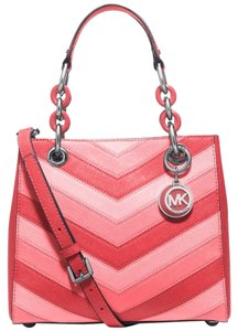Michael Kors Cynthia Leather Satchel in Coral Pink Gold tone