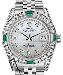Rolex Rolex 36mm Datejust white MOP diamond Jubilee Bracelet custom Emerald diamonds