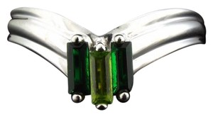 Other size 6.5, 14k white gold, 0.50 ct. t.w. green tourmaline & green Peridot baguette, birthstone, statement, fashion, chevron ring