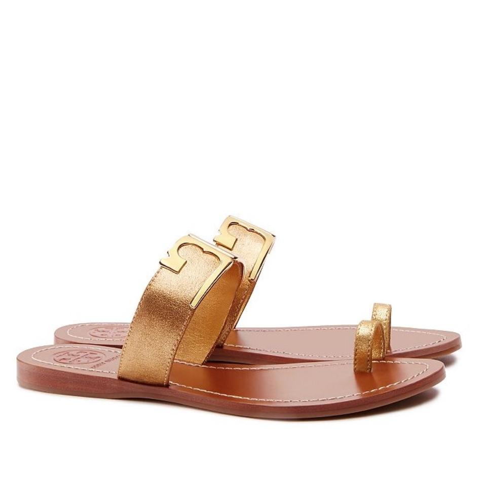 86a9f7a0754f Tory Burch Gold Marcia Metallic Toe Ring Slide Sandals Size US 6.5 ...
