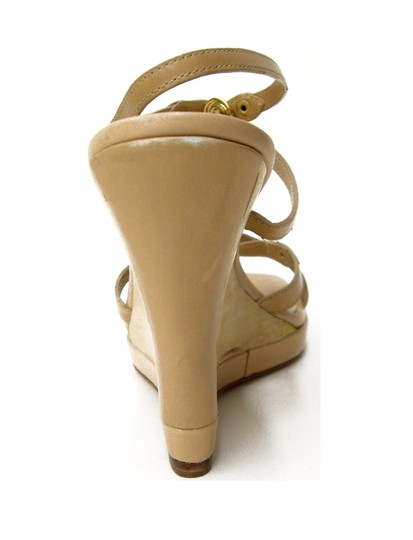 Boutique 9 Covered Leather Strappy Gold Metal T-strap Wood Covered Leather Lining Leathersole Platform Open Toe Open Back Ankle Natural Wedges