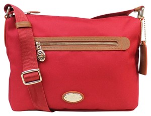 Coach F37239 Women's Red Canvas Brown Leather Cross Body Bag