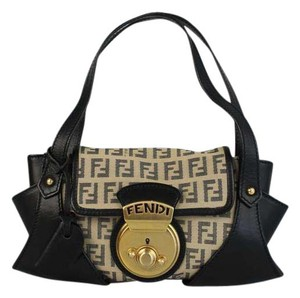 Fendi Mini Monogram Evening Tote in Tan/black