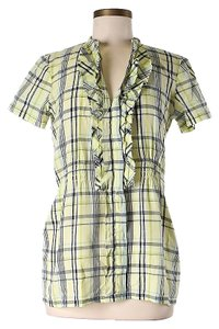 Ella Moss Plaid Ruffle Button Down Shirt Green