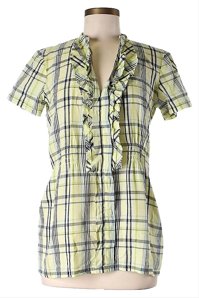 Ella Moss Green Plaid Ruffle Button Down Shirt 77 Off
