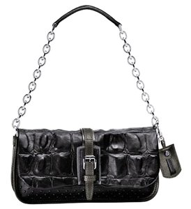 Longchamp Snakeskin Crocodile Python Black Clutch
