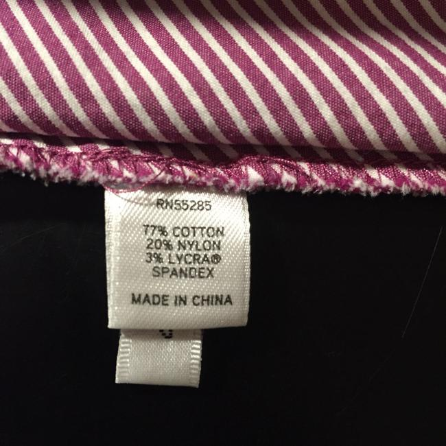 Express White Striped Chevron Pattern Tailored Darted Casual Career Work Suiting Office 3/4 Sleeves Stretch Collared Button Down Shirt Burgundy