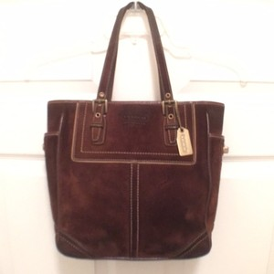 Coach Leather Suede Tote Satchel in Brown