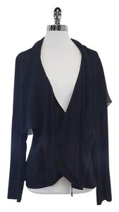 Elie Tahari Black Long Sleeve Wrap Top