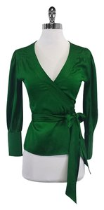 Diane von Furstenberg Emeraid Green Wrap Silk Top