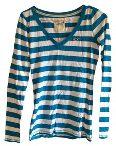 Hollister T Shirt Blue, white, turquoise