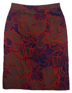 Piazza Sempione Brown Red Blue Floral Print Skirt
