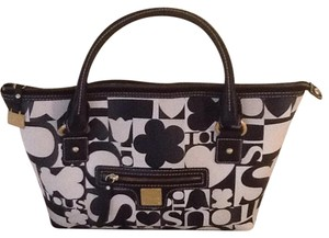 TOUS Satchel in Black Leather Trim, withth beige, black and white slightly peppled leather body.