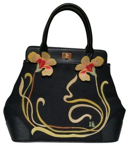 Lulu Guinness Embroidered Satchel in black