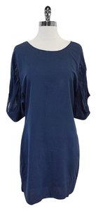ADAM short dress Blue Chiffon Short Sleeve Shift on Tradesy