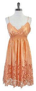 BCBGMAXAZRIA short dress Peach Silk Eyelet Spaghetti on Tradesy