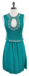 Nanette Lepore short dress Teal Knit Sleeveless Beaded on Tradesy