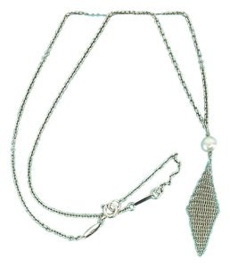 Tiffany & Co. Silver Mesh Fringe & Single Pearl Necklace