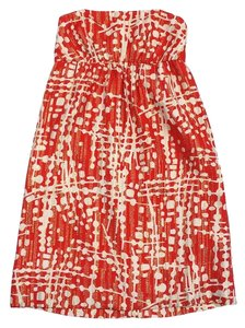 Shoshanna short dress Red & Cream Gold Silk on Tradesy