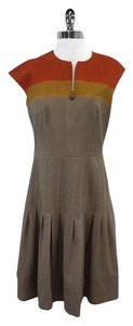 Akris Punto short dress Taupe Orange Wool Cap Sleeve on Tradesy