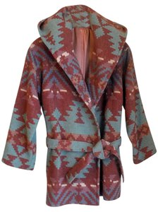 Ashley Scott Aztec Shawl Collar Belted Winter in Southwestern Pastel multi --pink, mauve, turquoise Jacket
