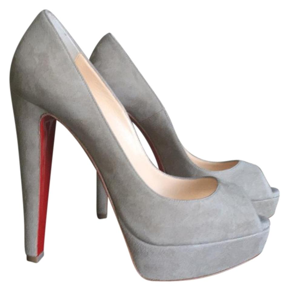 san francisco 176c7 84a60 Christian Louboutin Altanana Pierre Gray Suede Neutral Taupe Open Toe 38.5  Pumps Size US 8.5 Regular (M, B) 40% off retail