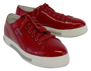 Prada Red Patent Leather Sneakers Formal