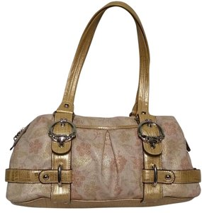 Kathy Van Zeeland Gold Metallic Floral Print Satchel in multicolor