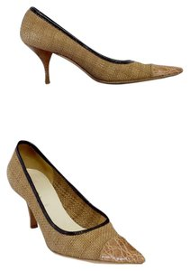 Prada Tan Straw Leather Pointed Toe Heels Pumps