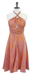 MILLY & Orange Zebra Print Silk Halter Dress